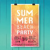 Summer party poster with palm leaf and lettering on wood texture background.
