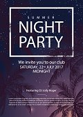 Summer party poster with palm trees. Night party