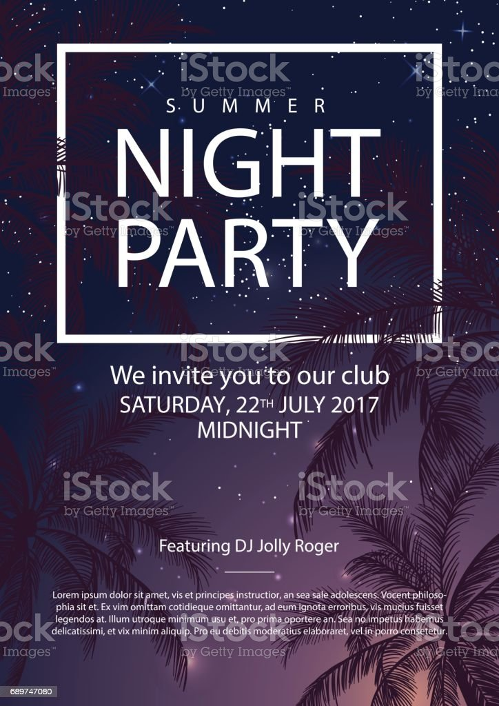 Summer party poster with palm trees. Night party vector art illustration