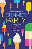 Colourful overlapping silhouettes of Popsicle on Party poster.
