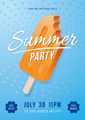 Summer Party Poster with Popsicles.