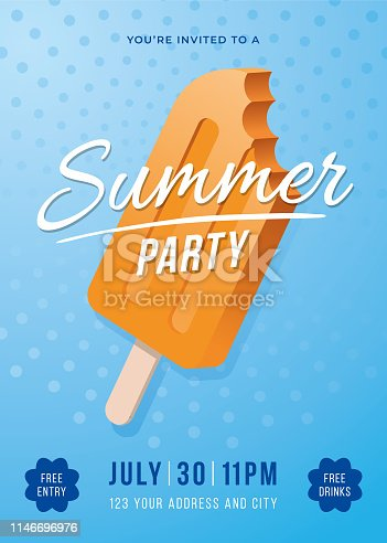 Summer Party Poster with Popsicles - Illustration