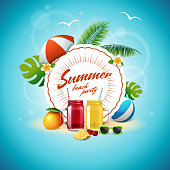 Summer party poster with smoothie or juice mason jars. Beach party banner with vintage round sign, glasses with lemonade, mango, pineapple, cherry, palm tree leaves, umbrella, sunglasses