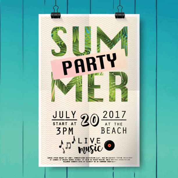 Summer party pster with palm leaf and lettering. Summer party pster with palm leaf and lettering on wood texture background. pool party stock illustrations