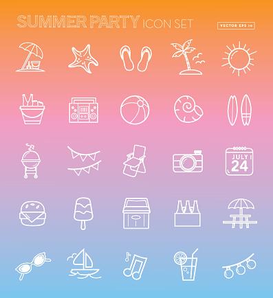 Summer party season Flat Simple outline Design Icon set