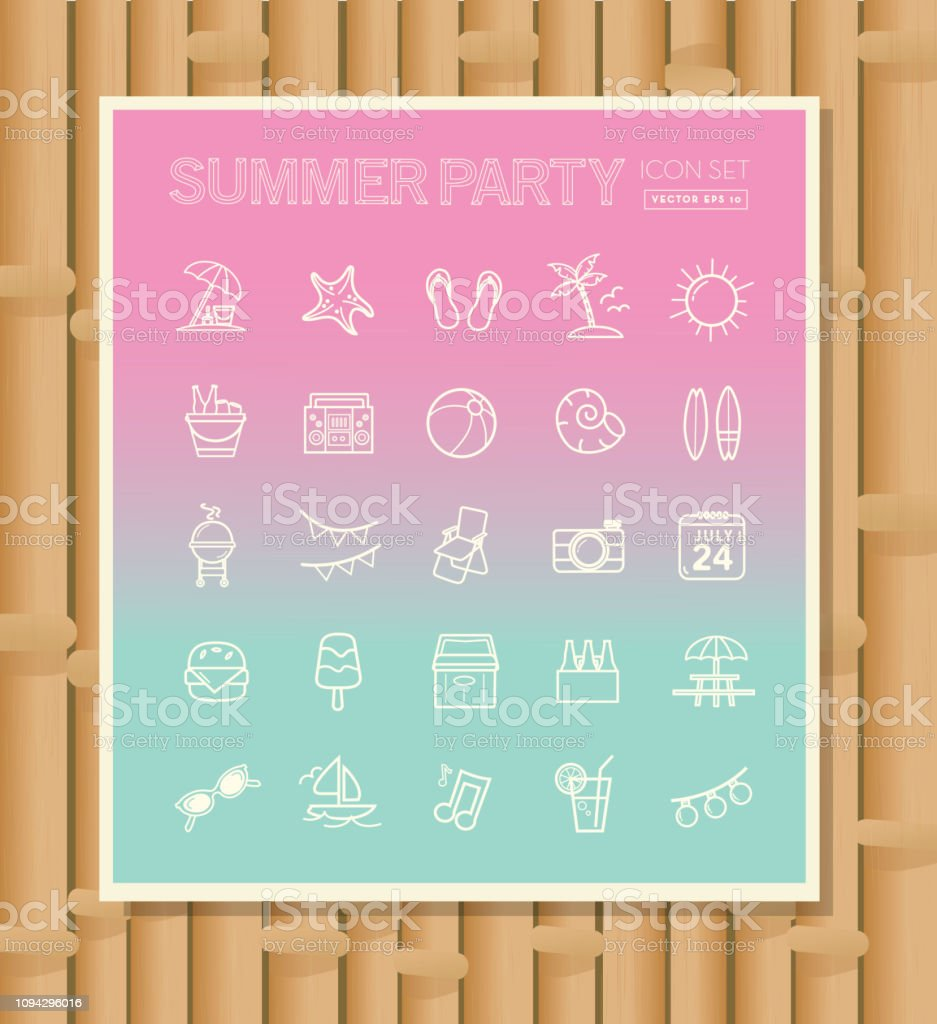 Summer party season Flat Simple outline Design Icon set vector art illustration