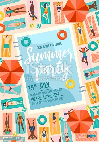 istock Summer party trendy poster with pool and people. Summer sale or invitation design template. People on vacation travel concept.Vector illustration 1226991086