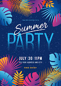 Summer Party - Tropical background with palm leaves and exotic plants - Illustration