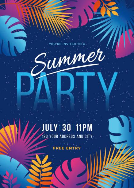 ilustraciones, imágenes clip art, dibujos animados e iconos de stock de fiesta de verano-fondo tropical con hojas de palma y plantas exóticas. - summer background