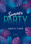 Summer Party - Tropical background with palm leaves and exotic plants. - Illustration