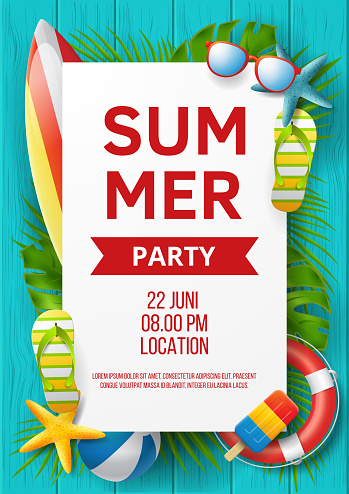 Summer party vector banner design with colorful beach elements. Vector illustration