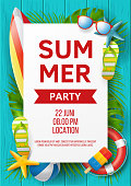 istock Summer party vector banner design with colorful beach elements. Vector illustration 1148135506