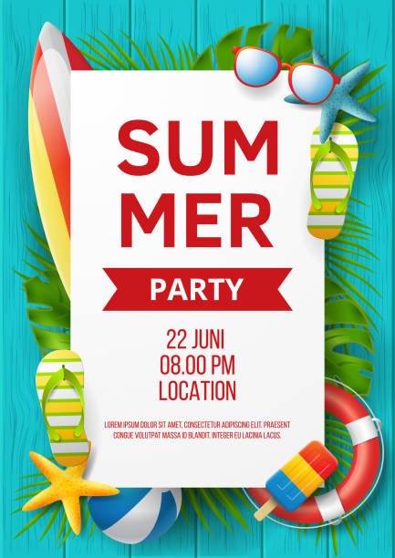 stockillustraties, clipart, cartoons en iconen met summer party vector banner design met kleurrijke strand elementen. vector illustratie - strandfeest