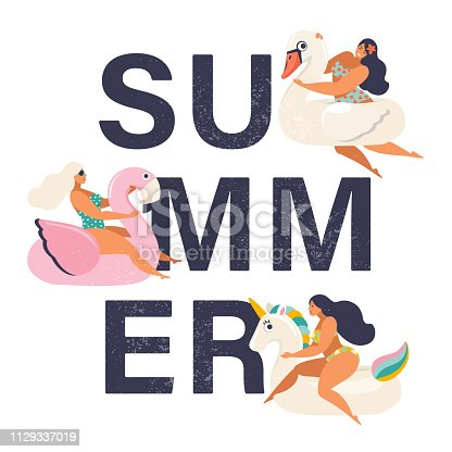 Summer time illustration card with pin up girl swimming on animal float circle in ocean waves with calligraphy. Summer party.