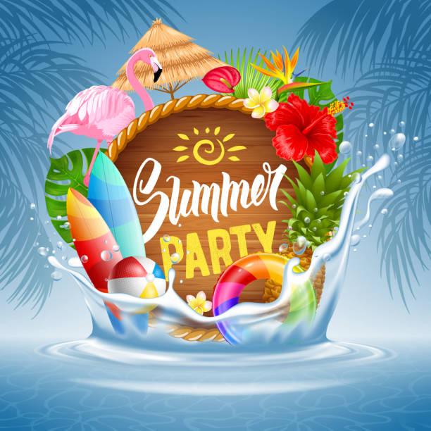 bildbanksillustrationer, clip art samt tecknat material och ikoner med sommar fest - inflatable ring