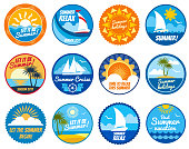 Summer party vector labels and emblems with sun and sea beach. Vacation summer emblem, illustration of summer sticker with yacht and sun