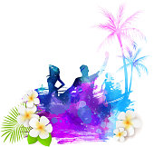 Abstract painted grunge splash shape with silhouettes. Travel concept - partying people, palm trees, plumeria tropical flowers. Multicolored. Vector illustration.