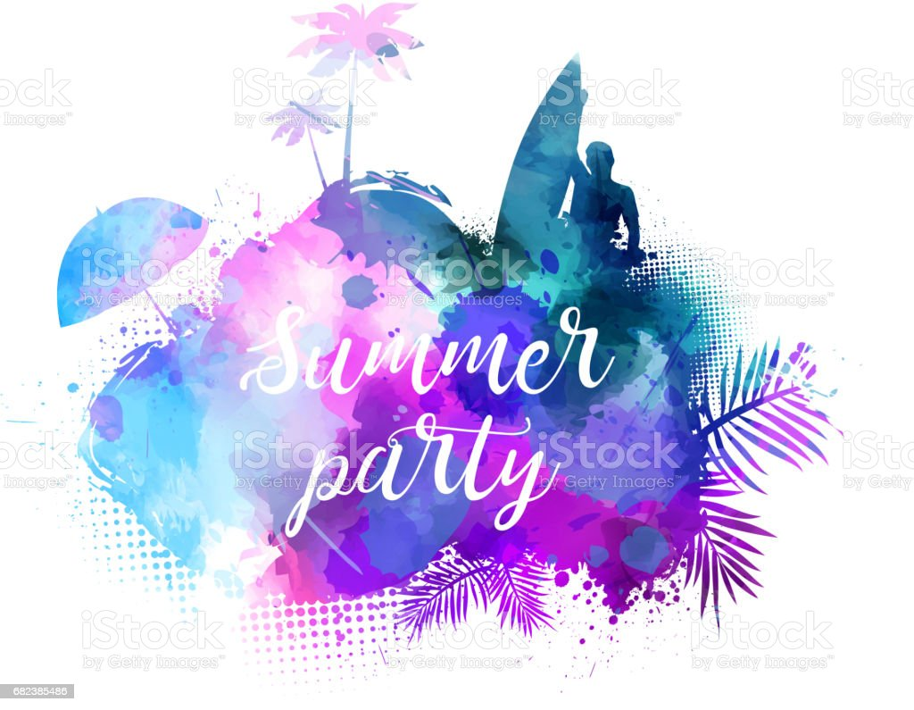 Summer party watercolored background. royalty-free summer party watercolored background stock vector art & more images of abstract
