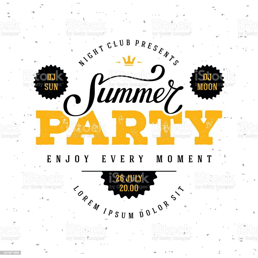 Summer party white vector art illustration