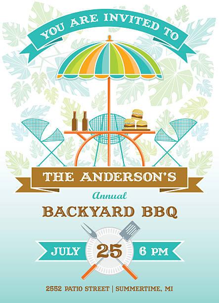 terrasse mit barbecue-party-einladung - plastikteller stock-grafiken, -clipart, -cartoons und -symbole
