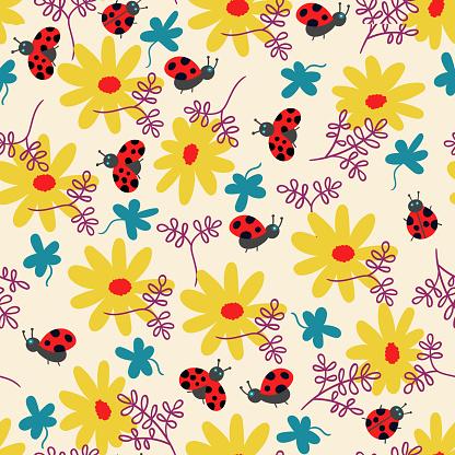 Summer pattern flowers and ladybug