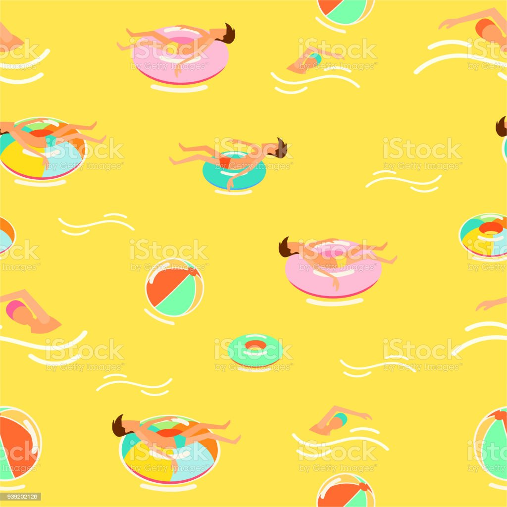 Summer Pattern Print Color Full People Swimming In Sea Royalty Free