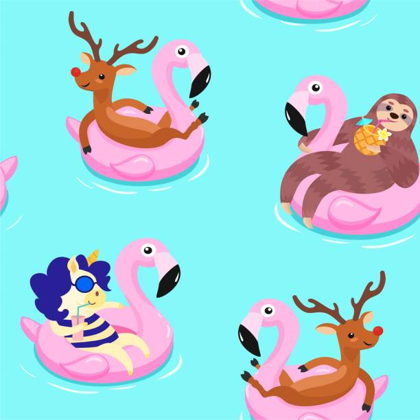 Summer pattern with deer, unicorn and sloth. Vector seamless texture. Summer pattern with deer, unicorn and sloth. Vector seamless texture. pool party stock illustrations