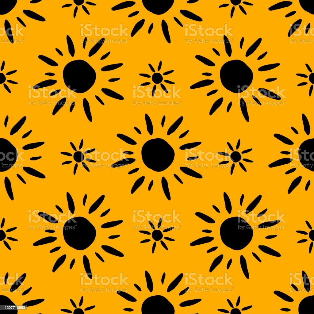 summer pattern with hand drawn sun symbols seamless wallpaper black vector id1207713993