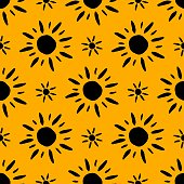 Sunflower Pattern On Black Background Seamless Floral Design Black Yellow Aesthetic Great For Fabric Scrapbooking And Textile Stock Illustration Download Image Now Istock