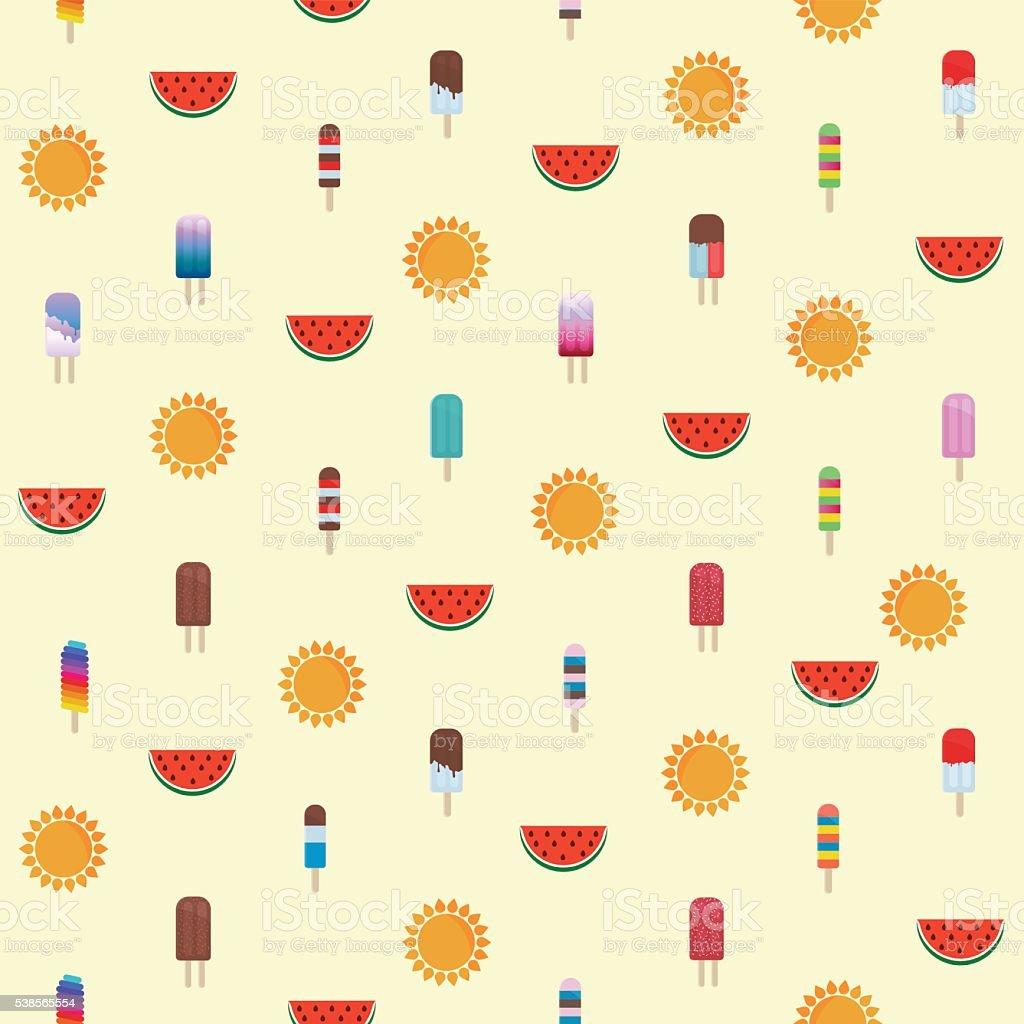 Summer Ice Cream Wallpaper: Summer Pattern With Ice Cream Watermelon Sun Stock Vector