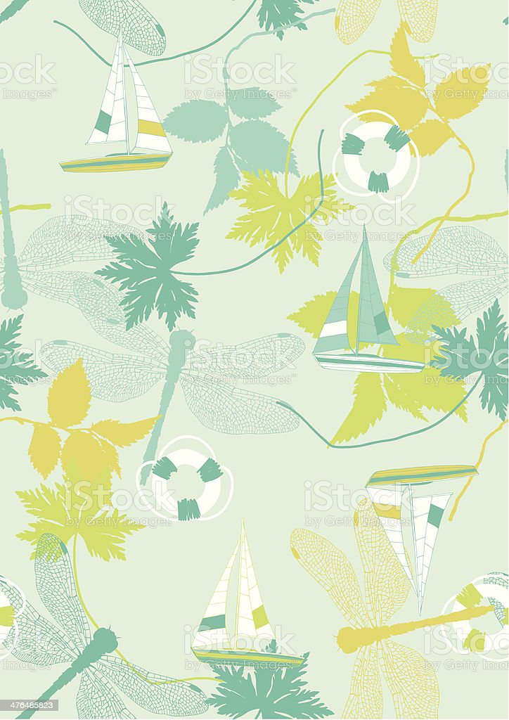 Summer Pattern with Sailing Boats and Dragonflies royalty-free stock vector art