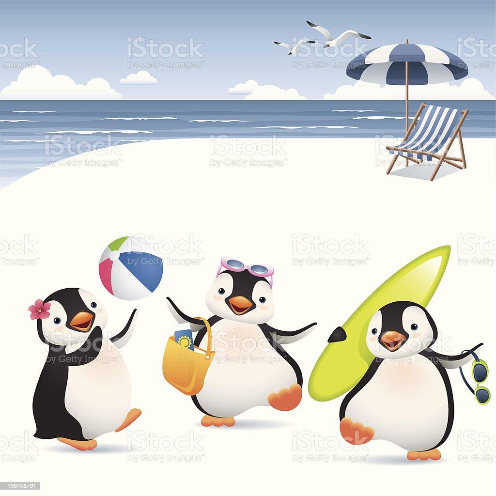 Summer Penguins vector art illustration