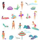 Summer people activity in the ocean beach icons set. Modern gradient flat design vector illustration