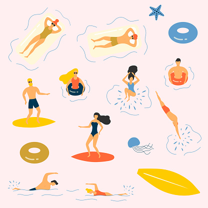 Summer people in bikini at the sea chilling, sunbathing and surfing. Water relaxing vector illustration.
