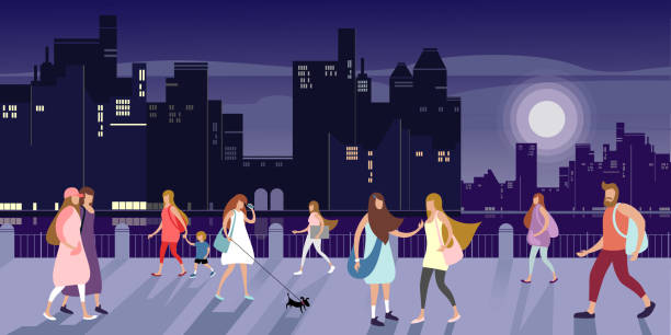 summer people Young people walk along the city's embankment on a late summer evening. Vector illustration. waterfront stock illustrations