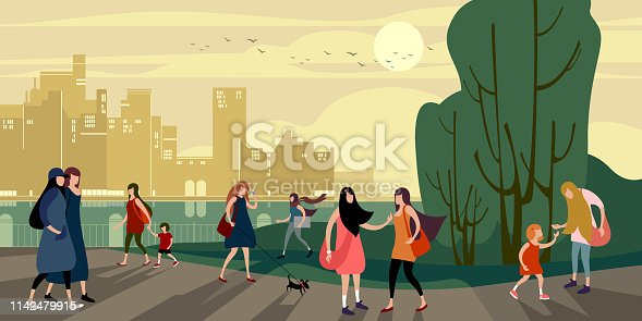 A group of young urban people walk in the evening summer city quay. Vector illustration.
