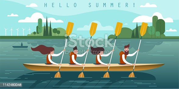 Teamwork. Vector illustration of four young rowers.