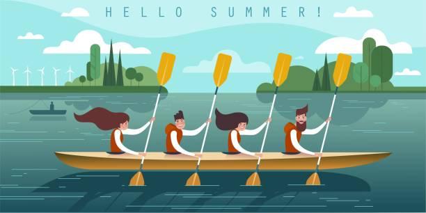 ilustrações, clipart, desenhos animados e ícones de pessoas de verão - equipe esportiva
