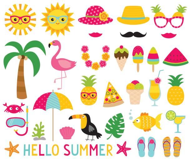 summer photo booth props - tierfotografie stock-grafiken, -clipart, -cartoons und -symbole