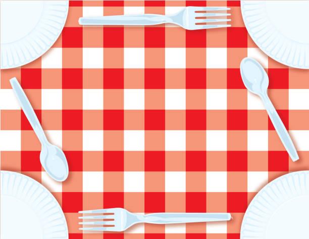 sommer-picknick-hintergrund - plastikteller stock-grafiken, -clipart, -cartoons und -symbole