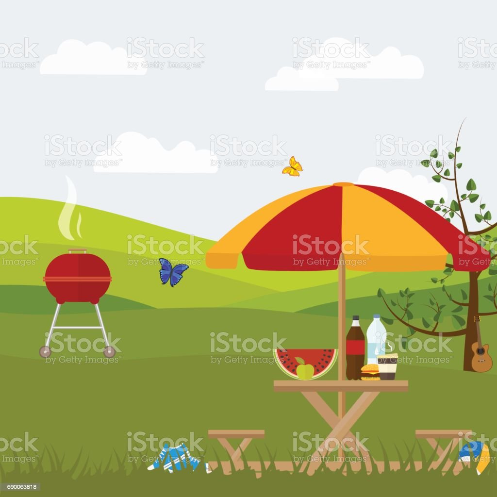 summer picnic barbecue outside the city in nature vector art illustration