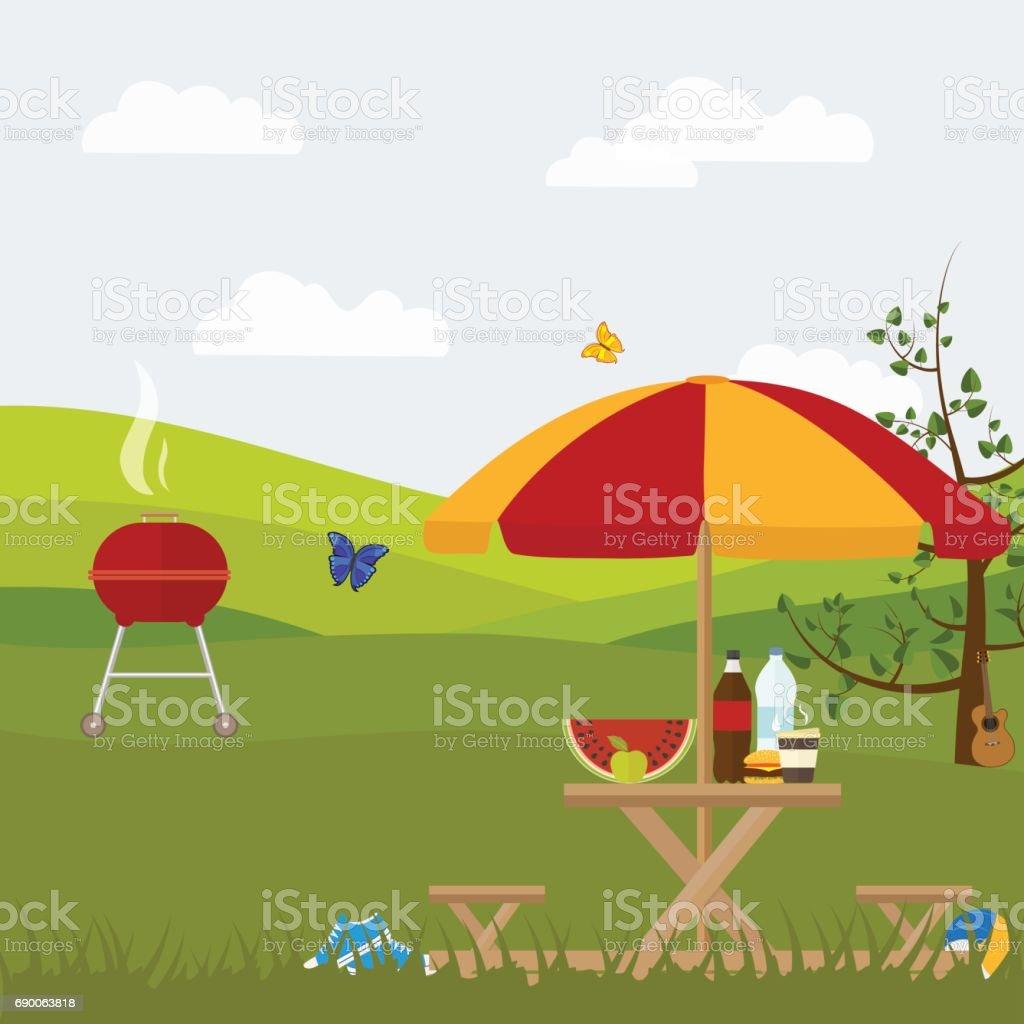 churrasco de piquenique de verão fora da cidade na natureza - ilustração de arte em vetor