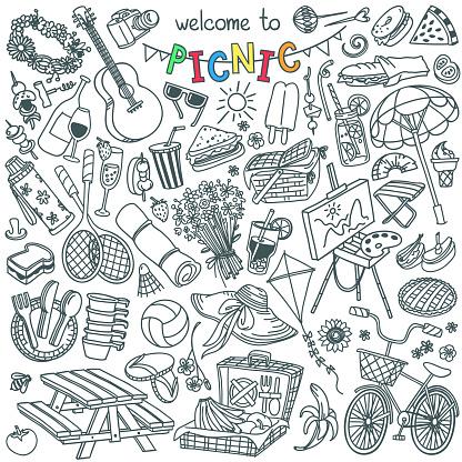 Summer picnic doodle set. Food, drinks, sport and outdoor activities.
