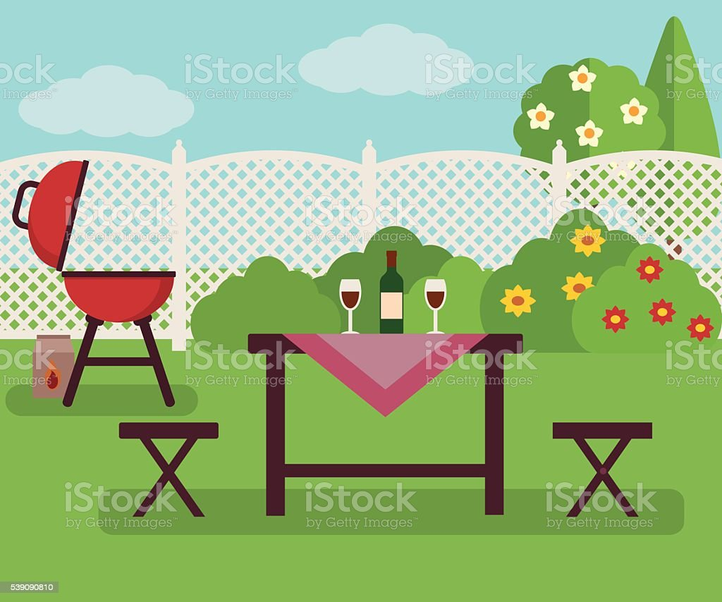 Summer picnic in garden. vector art illustration