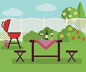 Summer picnic in garden.