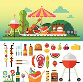 Summer picnic in meadow with flowers: umbrella, guitar, basket with food, fruits, barbecue.