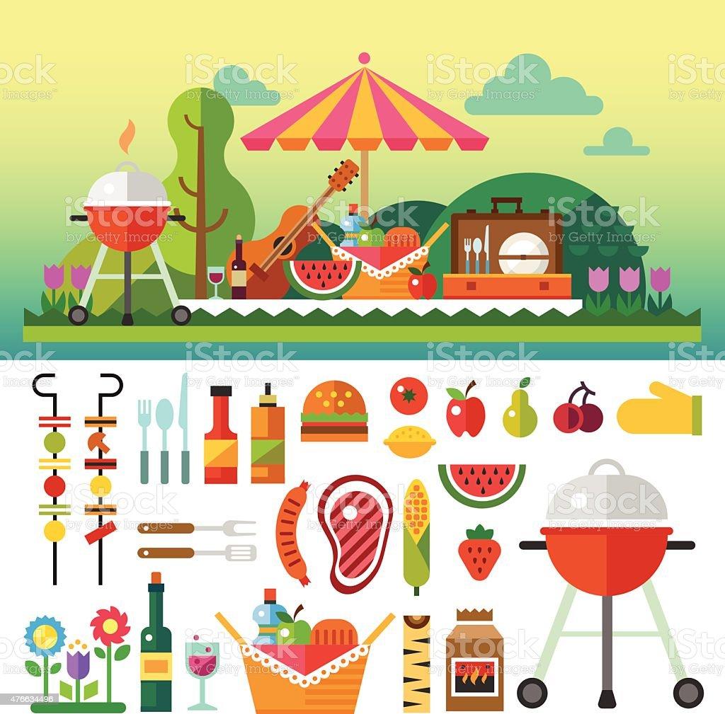 夏のピクニックの草地 ベクターアートイラスト