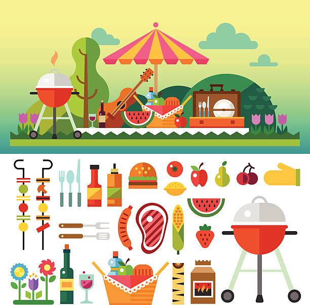 ilustraciones, imágenes clip art, dibujos animados e iconos de stock de summer picnic in meadow - picnic