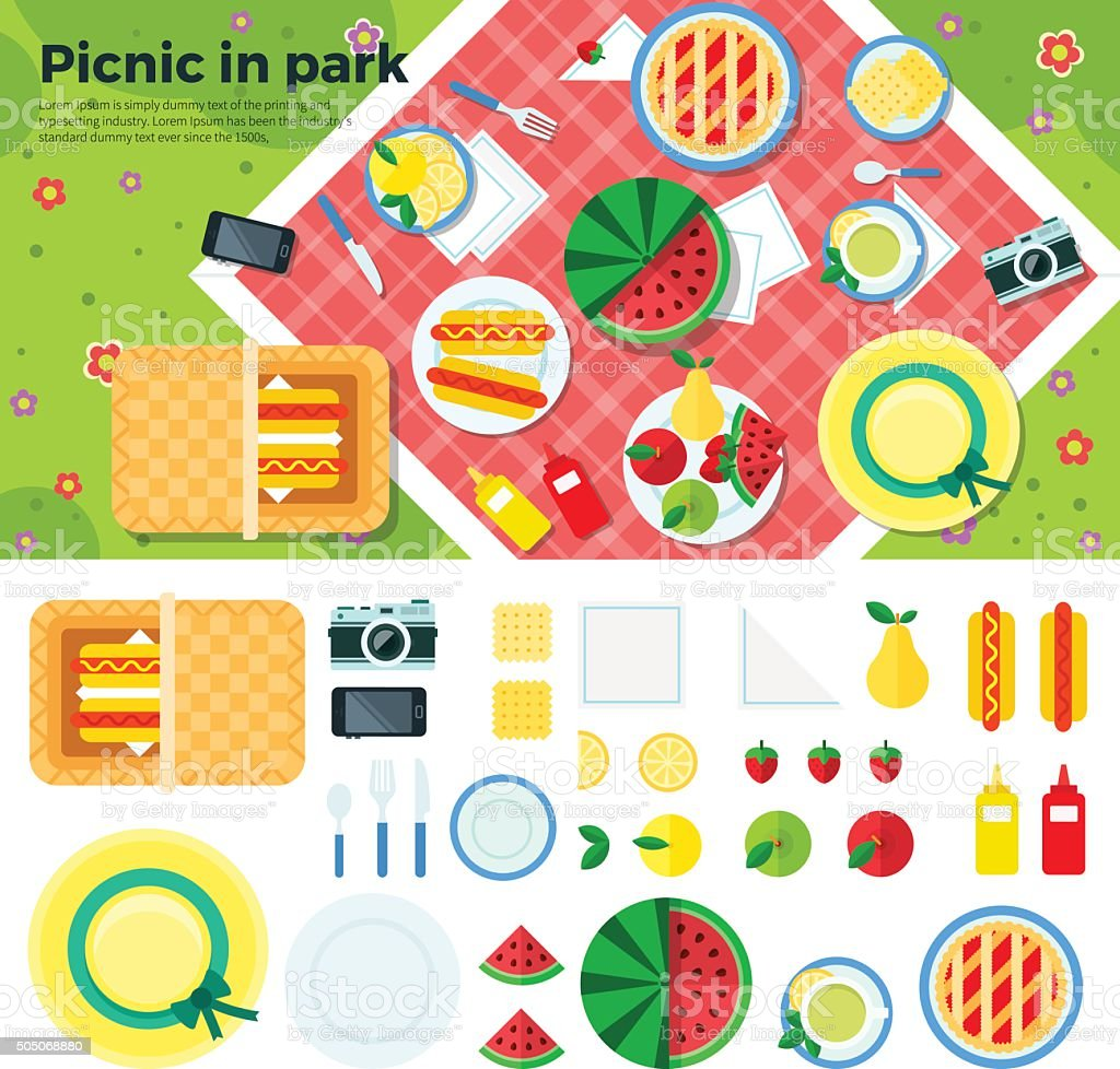 Summer Picnic in Park Banner and Icons vector art illustration