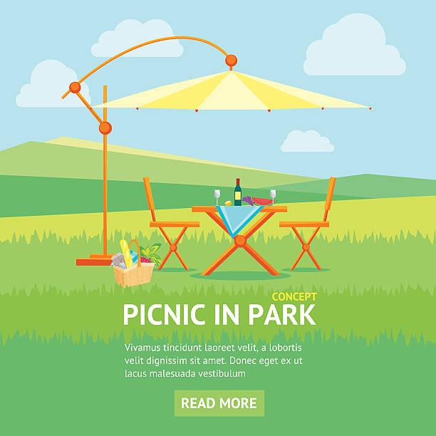 bildbanksillustrationer, clip art samt tecknat material och ikoner med summer picnic in park banner. vector - vin sommar fest
